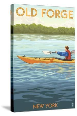 Old Forge, New York - Kayak Scene-Lantern Press-Stretched Canvas Print