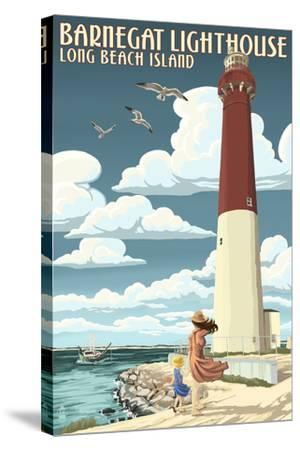 Long Beach Island - Barnegat Lighthouse-Lantern Press-Stretched Canvas Print