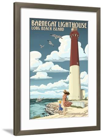 Long Beach Island - Barnegat Lighthouse-Lantern Press-Framed Art Print
