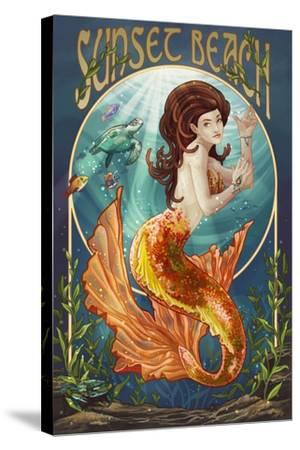 Sunset Beach, New Jersey - Mermaid-Lantern Press-Stretched Canvas Print