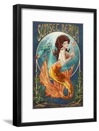 Sunset Beach, New Jersey - Mermaid-Lantern Press-Framed Art Print