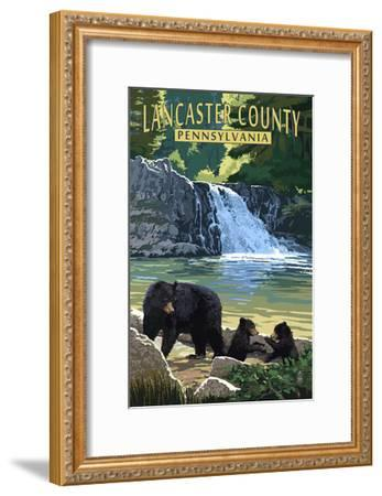 Lancaster County, Pennsylvania - Black Bears and Waterfall-Lantern Press-Framed Art Print