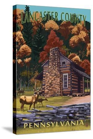 Lancaster County, Pennsylvania - Deer Family and Cabin Scene-Lantern Press-Stretched Canvas Print