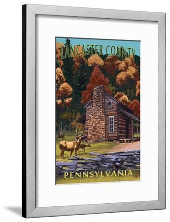 Lancaster County, Pennsylvania - Deer Family and Cabin Scene-Lantern Press-Framed Art Print