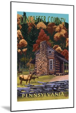 Lancaster County, Pennsylvania - Deer Family and Cabin Scene-Lantern Press-Mounted Art Print