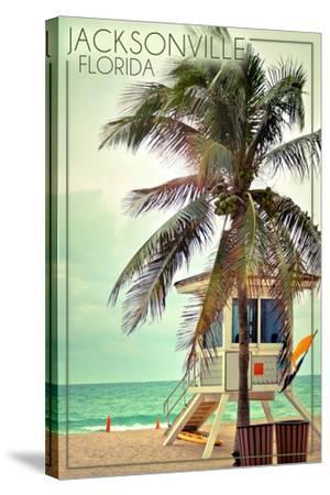 Jacksonville, Florida - Lifeguard Shack and Palm-Lantern Press-Stretched Canvas Print