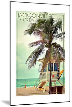 Jacksonville, Florida - Lifeguard Shack and Palm-Lantern Press-Mounted Art Print