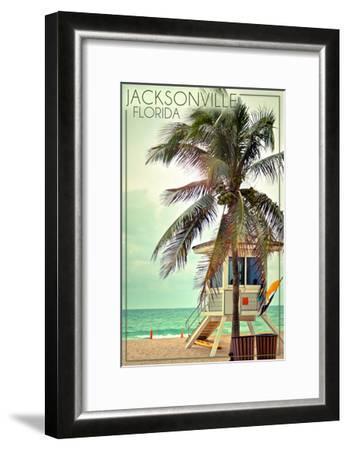 Jacksonville, Florida - Lifeguard Shack and Palm-Lantern Press-Framed Art Print