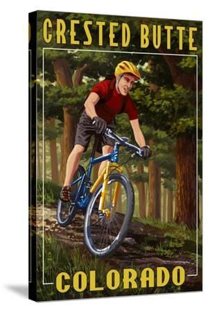 Crested Butte, Colorado - Mountain Biker in Trees-Lantern Press-Stretched Canvas Print