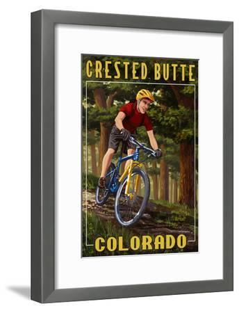 Crested Butte, Colorado - Mountain Biker in Trees-Lantern Press-Framed Art Print