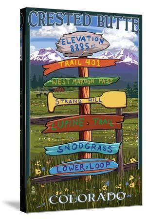Crested Butte, Colorado - Destination Signpost-Lantern Press-Stretched Canvas Print
