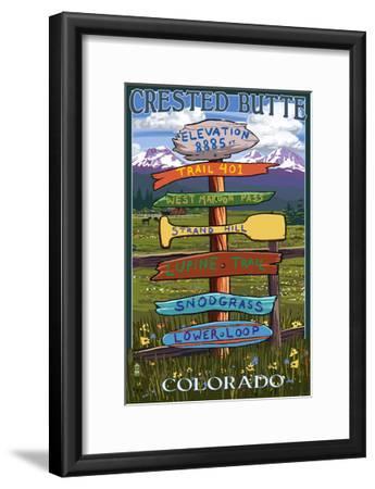Crested Butte, Colorado - Destination Signpost-Lantern Press-Framed Art Print