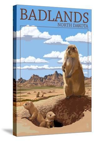 Badlands, North Dakota - Prairie Dogs-Lantern Press-Stretched Canvas Print