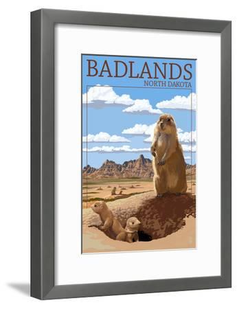 Badlands, North Dakota - Prairie Dogs-Lantern Press-Framed Art Print
