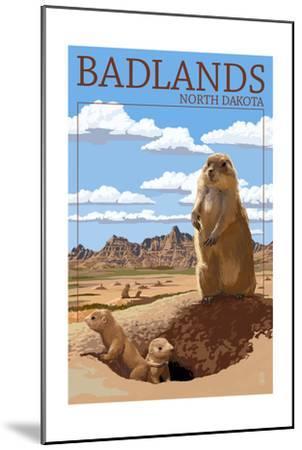 Badlands, North Dakota - Prairie Dogs-Lantern Press-Mounted Art Print