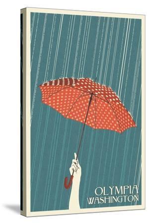 Olympia, Washington - Umbrella - Letterpress-Lantern Press-Stretched Canvas Print