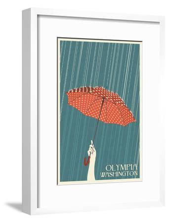 Olympia, Washington - Umbrella - Letterpress-Lantern Press-Framed Art Print