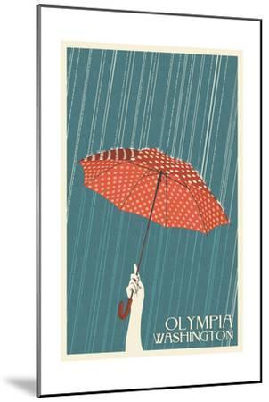 Olympia, Washington - Umbrella - Letterpress-Lantern Press-Mounted Art Print
