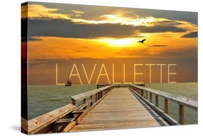 Lavallette, New Jersey - Pier at Sunset-Lantern Press-Stretched Canvas Print