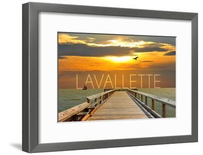 Lavallette, New Jersey - Pier at Sunset-Lantern Press-Framed Art Print