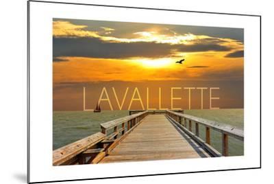 Lavallette, New Jersey - Pier at Sunset-Lantern Press-Mounted Art Print