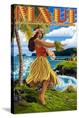 Maui, Hawaii - Hula Girl on Coast-Lantern Press-Stretched Canvas Print