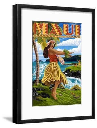 Maui, Hawaii - Hula Girl on Coast-Lantern Press-Framed Art Print