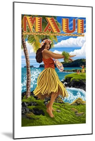 Maui, Hawaii - Hula Girl on Coast-Lantern Press-Mounted Art Print