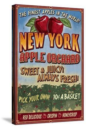 New York - Apple Orchard Vintage Sign-Lantern Press-Stretched Canvas Print