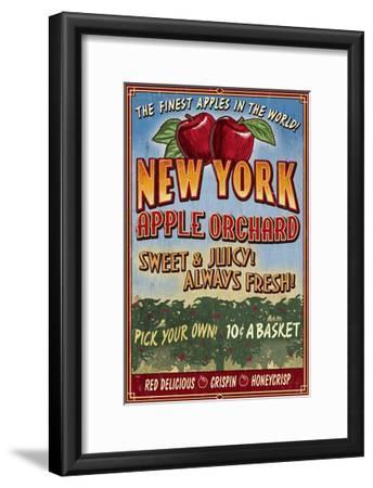 New York - Apple Orchard Vintage Sign-Lantern Press-Framed Art Print