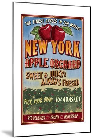 New York - Apple Orchard Vintage Sign-Lantern Press-Mounted Art Print