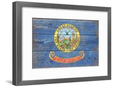 Idaho State Flag - Barnwood Painting-Lantern Press-Framed Art Print