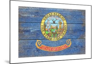 Idaho State Flag - Barnwood Painting-Lantern Press-Mounted Art Print