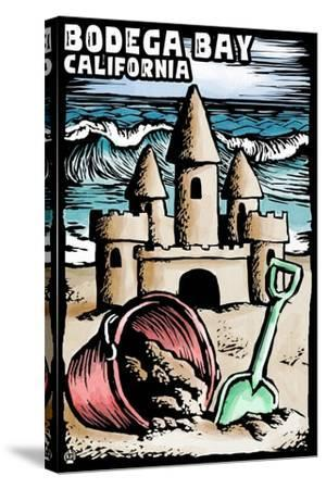 Bodega Bay, California - Sandcastle - Scratchboard-Lantern Press-Stretched Canvas Print