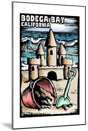 Bodega Bay, California - Sandcastle - Scratchboard-Lantern Press-Mounted Art Print