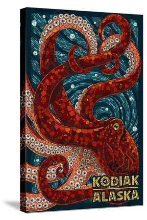 Kodiak, Alaska - Octopus Mosaic-Lantern Press-Stretched Canvas Print