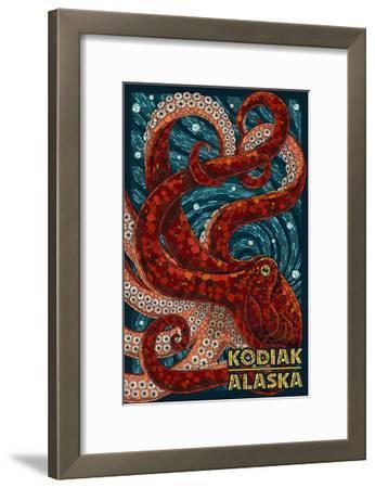 Kodiak, Alaska - Octopus Mosaic-Lantern Press-Framed Art Print