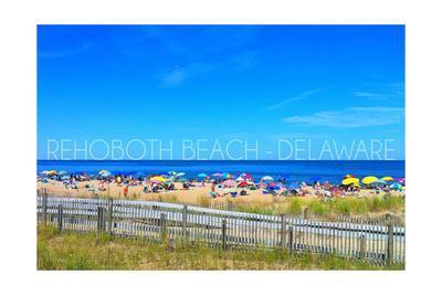 Rehoboth Beach, Delaware - Beach and Umbrellas-Lantern Press-Framed Art Print
