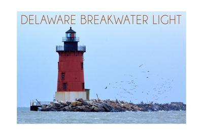 Lewes, Delaware - Cape Henlopen Lighthouse Day-Lantern Press-Framed Art Print