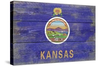 Kansas State Flag - Barnwood Painting-Lantern Press-Stretched Canvas Print