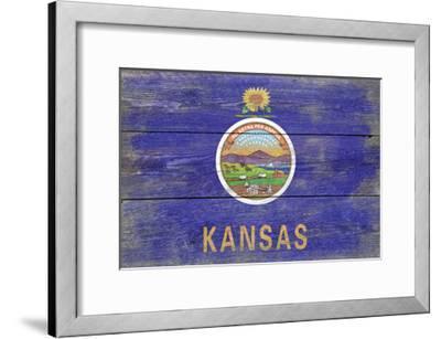 Kansas State Flag - Barnwood Painting-Lantern Press-Framed Art Print