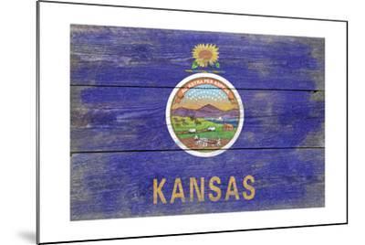 Kansas State Flag - Barnwood Painting-Lantern Press-Mounted Art Print