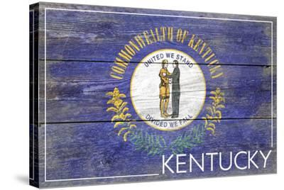 Kentucky State Flag - Barnwood Painting-Lantern Press-Stretched Canvas Print