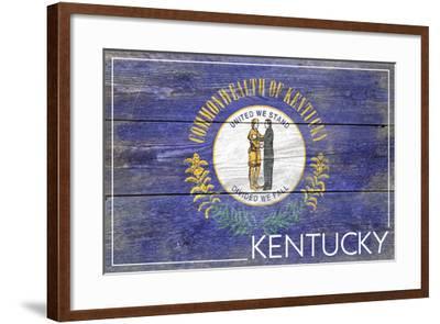 Kentucky State Flag - Barnwood Painting-Lantern Press-Framed Art Print