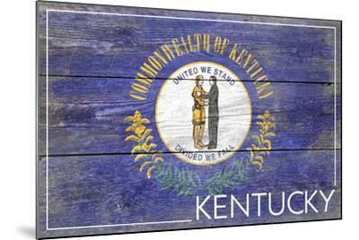 Kentucky State Flag - Barnwood Painting-Lantern Press-Mounted Art Print