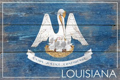 Louisiana State Flag - Barnwood Painting-Lantern Press-Framed Art Print