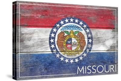 Missouri State Flag - Barnwood Painting-Lantern Press-Stretched Canvas Print