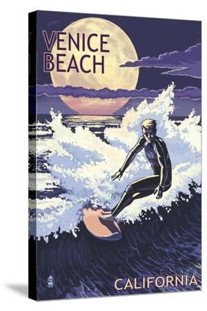 Venice Beach, California - Night Surfer-Lantern Press-Stretched Canvas Print
