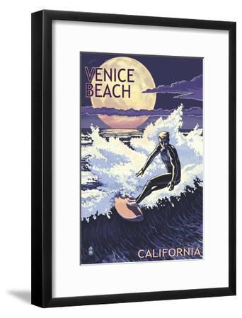 Venice Beach, California - Night Surfer-Lantern Press-Framed Art Print