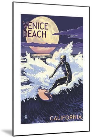 Venice Beach, California - Night Surfer-Lantern Press-Mounted Art Print